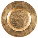GLASS CHARGER PLATE , ATLAS DESIGN , GOLD COLOR, SET/4