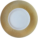 GLASS CHARGER PLATE, GOLD DIAMOND RIM DESIGN