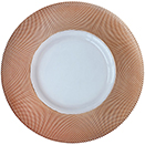 GLASS CHARGER PLATE, ROSE GOLD DIAMOND RIM DESIGN