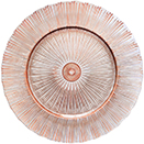 GLASS CHARGER PLATE, ROSE GOLD SUNRAY DESIGN