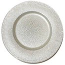 GLASS CHARGER PLATE, WHITE WITH TWINKLE GLITTER DESIGN, SET/4