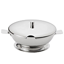 CHEESE SERVER WITH SLOTTED LID, HIGH POLISHED STAINLESS