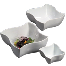 SERVING BOWLS, WAVE DESIGN, WHITE PORCELAIN