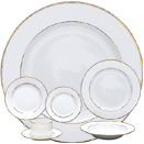 WHITE WITH GOLD BAND DINNERWARE