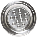 CIRCLE CENTER TRAYS WITH WIDE RIM, STAINLESS STEEL