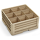 9 SQUARE COMPARTMENT CLOSED WALL RACK WITH 3 EXTENDERS, BEIGE