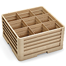 9 SQUARE COMPARTMENT CLOSED WALL RACK WITH 4 EXTENDERS, BEIGE