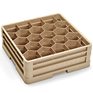 20 COMPARTMENT CLOSED WALL CUP RACK WITH 2 EXTENDERS, BEIGE