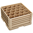 20 HEXAGON COMPARTMENT CLOSED WALL RACK WITH 4 EXTENDERS, BEIGE