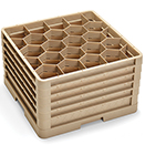 20 HEXAGON COMPARTMENT CLOSED WALL RACK WITH 5 EXTENDERS, BEIGE