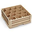12 HEXAGON COMPARTMENT CLOSED WALL RACK WITH 2 EXTENDERS, BEIGE