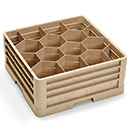 12 HEXAGON COMPARTMENT CLOSED WALL RACK WITH 3 EXTENDERS, BEIGE