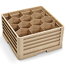 12 HEXAGON COMPARTMENT CLOSED WALL RACK WITH 4 EXTENDERS, BEIGE