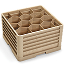 12 HEXAGON COMP CLOSED WALL RACK WITH 5 EXTENDERS, BEIGE