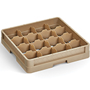 16 SQUARE COMPARTMENT CLOSED WALL CUP RACK, BEIGE