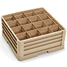 16 SQUARE COMPARTMENT CLOSED WALL CUP RACK WITH 3 EXTENDERS, BEIGE
