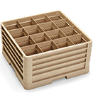 16 SQUARE COMPARTMENT CLOSED WALL CUP RACK WITH 4 EXTENDERS, BEIGE