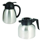 COFFEE POT, STAINLESS BODY, PLASTIC LIP AND HANDLE