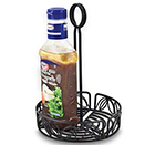 CONDIMENT CADDY, LEAF DESIGN, BLACK WROUGH IRON