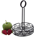 CONDIMENT CADDY, SCROLL DESIGN, BLACK WROUGH IRON