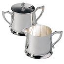 CREAMER AND SUGAR BOWL SET, SILVERPLATE