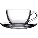 CUP WITH SAUCER, CLEAR GLASS, PKG/2 DOZ.