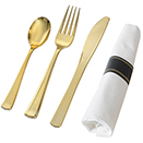 GOLD DISPOSABLE CUTLERY - 7.25