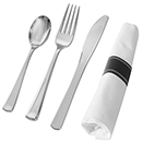 SERVING CUTLERY, SILVER DISPOSABLE PLASTIC