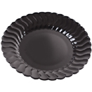 SCALLOPED EDGE DISPOSABLE PLATES & BOWLS, BLACK