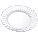 SCALLOPED EDGE DISPOSABLE PLATES & BOWLS, CLEAR