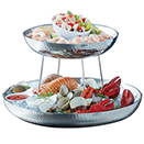 SEAFOOD TRAYS, DOUBLE-WALL, HAMMERED STAINLESS STEEL