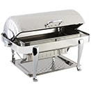 ELITE RECTANGULAR ROLL TOP CHAFERS, HAMMERED, STAINLESS