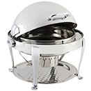 ELITE ROUND ROLL TOP CHAFER, HAMMERED, STAINLESS