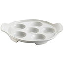 ESCARGOT DISH, ROUND, SUPER WHITE PORCELAIN, PKG/2 DOZ.
