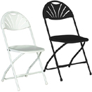 FOLDING CHAIRS WITH METAL FRAME, RHINO™ FAN BACK STYLE - FAN BACK PLASTIC FOLDING CHAIR, BLACK