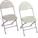 FOLDING CHAIRS WITH METAL FRAME, CHAMP FAN BACK STYLE