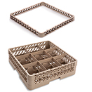 9 SQUARE COMPARTMENT BASE RACK WITH 2 EXTENDERS, BEIGE