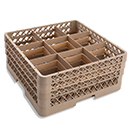 9 SQUARE COMPARTMENT BASE RACK WITH 3 EXTENDERS, BEIGE
