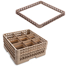 9 SQUARE COMPARTMENT BASE RACK WITH 4 EXTENDERS, BEIGE