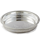GALLERY ROUND TRAY, EMBOSSED CENTER, SILVERPLATE
