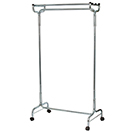 GARMENT RACK WITH CASTERS, CHROME