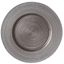 GLASS CHARGER PLATE, METALLIC GREY WITH GLITTER EDGE DESIGN, SET/4
