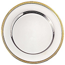 NICKELPLATED CHARGER PLATE, GOLD BEADED EDGE DESIGN, SET/4