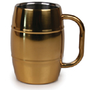 16 OZ. BARREL MUG, GOLD FINISH, INSULATED
