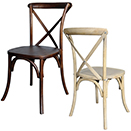 CHAIRS WITH WOODED FRAME, LUCCA X-BACK STYLE, STACKABLE