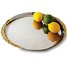 TRAY, LUNAR, STAINLESS STEEL WITH GOLD HANDLE