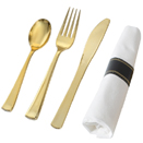 SERVING CUTLERY, GOLD DISPOSABLE PLASTIC - NAPKIN ROLLED FORK, SPOON, & KNIFE, 70 EACH