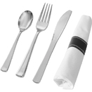 SERVING CUTLERY, SILVER DISPOSABLE PLASTIC - NAPKIN ROLLED FORK, SPOON, & KNIFE, 100 EACH