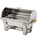 OBLONG ROLL TOP CHAFER, STAINLESS WITH GOLD ACCENT - 8 QT. ROLL TOP CHAFER, 25