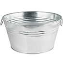 PARTY TUBS, NATURAL GALVANIZED - 148 OZ., 1.16 GALLON, 8